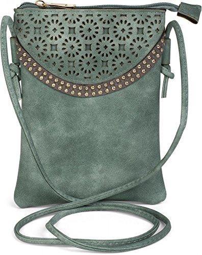 styleBREAKER Minibag Umhängetasche mit Blumen Cutout Muster und Nieten, Schultertasche, Tasche, Damen 02012127, Farbe:Jadegrün (Wildleder Grüne Designer-tasche)