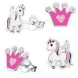 GH * Kids 2Paire de boucles d'oreille strass Couronne + Pegasus Licorne en argent...