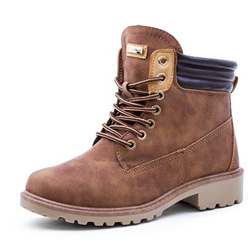 Marimo Damen Worker Boots Stiefeletten Outdoor Winterstiefel Schnürschuhe in Lederoptik gefüttert Camel 37 (Timberland Fake Boots Für Frauen)