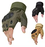 #5: Premium Store's Premium quality Half finger gloves with protective Knuckle Guard for Motorcycle riding,Tactical,Shooting,Cycling,Tracking & many more outdoor activities in Olive/Army/Military Green) & Black colour,size-Universal (Black)
