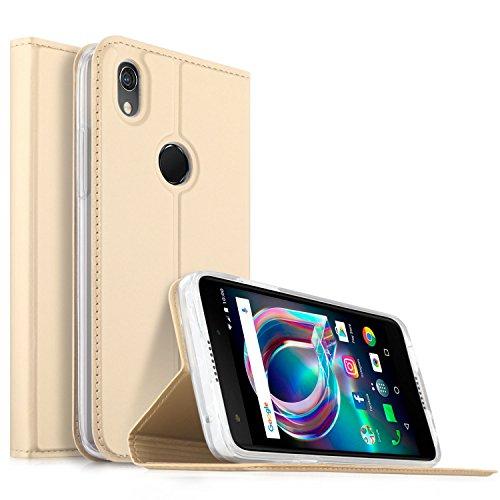 Alcatel Idol A7 XL Hülle, KuGi Alcatel Idol A7 XL Flip Bookstyle Kompletter Schutz Mit Magnetverschluss und Standfunktion Tasche Etui Cover Case Schutzhülle für Alcatel Idol A7 XL Smartphone (Gold)