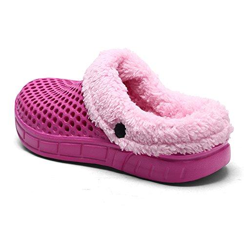 JACKSHIBO Mixte Adulte Chaussons Chauds Pour Home Coton Respirant Pantoufles Hiver Chaussures Maison Rose