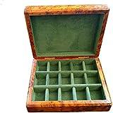 Wooden Handmade Jewellery Box Cufflink Earring Trinket Organiser 15 Compartment Hinged Green Velvet
