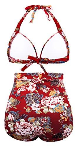 Angerella Retro Halter Neck Polka Dot A vita alta Bikini Costumi da Bagno Vino Rosso