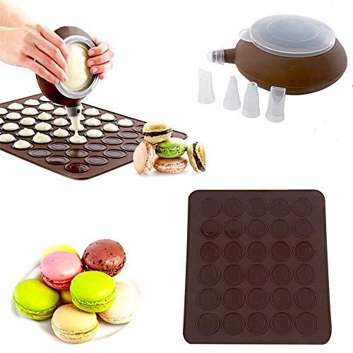 CESHUMD Macarons Backmatte Form für Macarons französische Macarons Making Set-48 Kapazität Macaron Silikonbackmatte Mold Mode und Dekorieren Pen Vereisung Tipps mit 4 Düsen