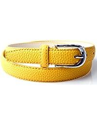 Accessoryo - jaune 105cm texturé PU bande de femmes en relief boucle d'argent
