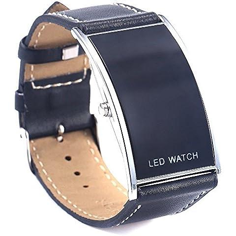 Creation® LED Ragazzi Ragazze digitali Cinturino in pelle Sport da polso Orologi Nero