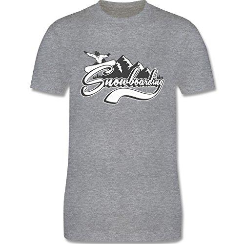 Wintersport - Snowboard Berge - Herren Premium T-Shirt Grau Meliert