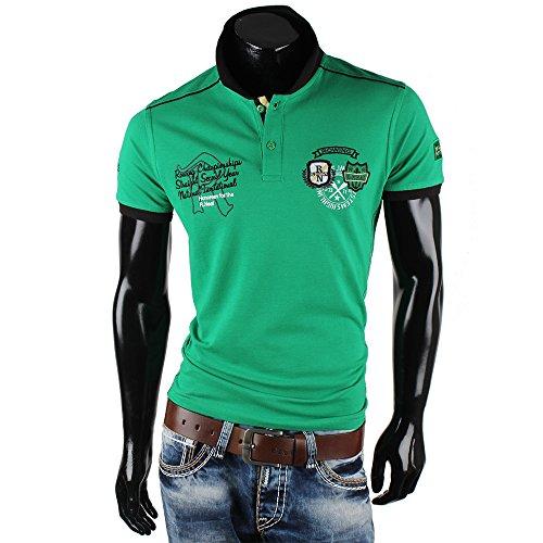 R-Neal Herren Poloshirt Kurzarm High Neck Hemd T-Shirt Clubwear Grün