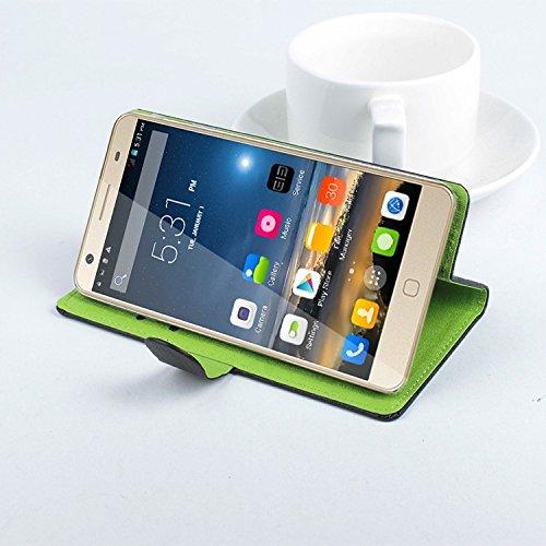 Baiwei Pu Leder Kunstleder Flip Cover Tasche Handyhülle Case für Elephone P7000 4G Smartphone Tasche Hülle Case Handytasche Handyhülle Etui (Schwarz Grün mit Halter)