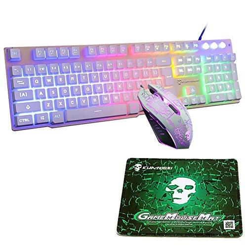 FELiCON® Juegos de Mouse para Teclado con Teclado Rainbow LED con retroiluminación USB Juegos para Videojuegos ergonómicos T6 Juegos de Teclado para Mouse Combo Optical 2400DPI 6 Botones+Mouse Pad