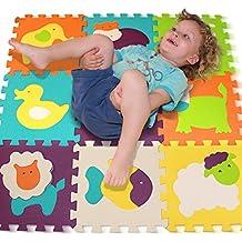 Alfombra de Juego Puzzle – Piezas de Puzzle de Encaje que Promueven el Desarrollo Sensorial Visual – Alfombra Suave para Niños – 9 Azulejos con Vibrantes Imágenes para Capturar la Atención del Niño – Azulejos de Suelo de Goma - EVA Mat - No