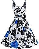 bbonlinedress 1950er Vintage Polka Dots Pinup Retro Rockabilly Kleid Cocktailkleider BlueFlower M
