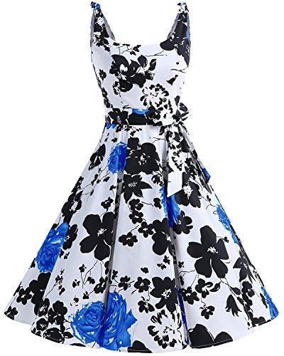 bbonlinedress 1950er Vintage Polka Dots Pinup Retro Rockabilly Kleid Cocktailkleider BlueFlower XS