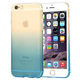 wortek Designer High Quality TPU Silikon - Case für iPhone 6 / 6S Schutz Hülle Halb Transparent Farbverlauf Blau