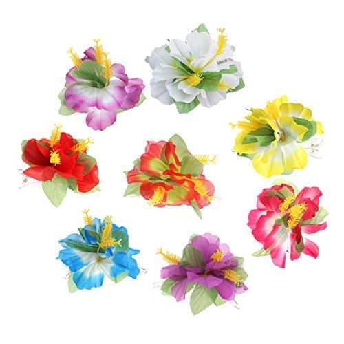Frcolor Blume Haarspange, Hibiscus Luau Hulahair Hawaiian Lei Blume Haarschmuck für Mädchen Frauen Strand Hochzeit Partei liefert (8 ()