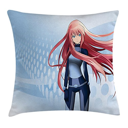 Anime Throw Pillow Cushion Cover, Futuristic Manga Girl Science Fiction Doodle Effect Japanese Style Digital Art Print, Decorative Square Accent Pillow Case,Light Blue 18X18 inches