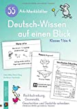 55 A4-Merkblätter Deutsch-Wissen auf einen Blick - Klasse 1 bis 4: Rechtschreibung, Grammatik, Geschichten und Gedichte schreiben