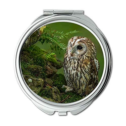 Yanteng Spiegel, Compact Spiegel, Eule Augen Tattoo Eule Vogel, Taschenspiegel, tragbarer Spiegel
