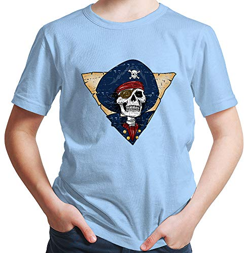 HARIZ  Jungen T-Shirt Pirat Skelett Schatzkiste Halloween Kostüm Horror Karneval Plus Geschenkkarten Himmel Blau 116/5-6 - Himmel Kostüm Pirat