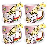 el & groove Einhorn-Tasse groß bunt in 3D | Kaffee-Tasse 350ml (400ml randvoll) im 4er Set | Tee-Tasse Einhorn aus Porzellan in Rosa, Weiß und Regenbogen | Unicorn | Sterne | Geschenkidee