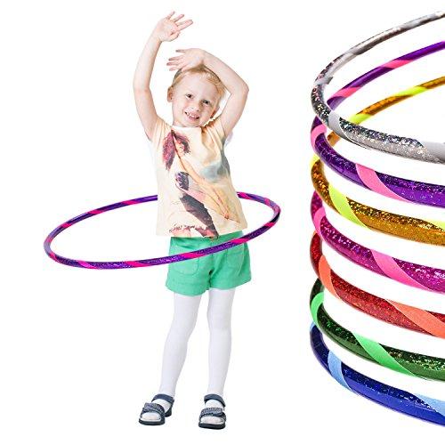 Hoopomania Glamour Hula Hoop Reifen Kinder, Glitter-Violett-Pink, 70 cm