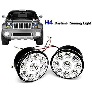 Tagfahrlicht Led Rund 70 MM mit Zulassung, Motoeye ® H04N 12V 9 LED Tagfahrleuchten DRL Dimmfunktion(2 Stück)