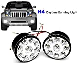 Picture Of LED Daytime Running Lights Round 70MM with Automatically Switch On/Off, MOTOEYE 12V 9 LED DRL Perfect for Cars SUVs Sedans Coupes [Latest Generation H4]