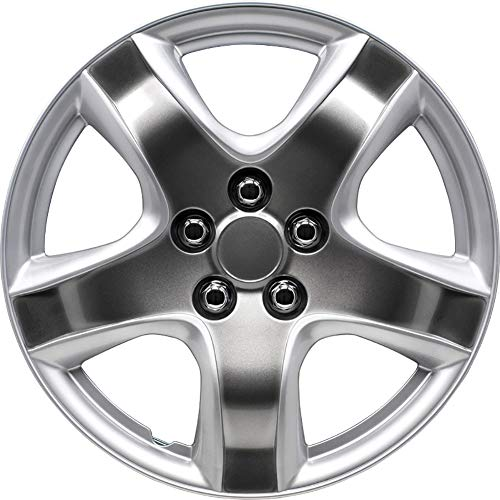 AutoStyle KT-998-15S/SPBK Set Copricerchio Maine 15 Silver/Sparkling Nero, 4 pezz