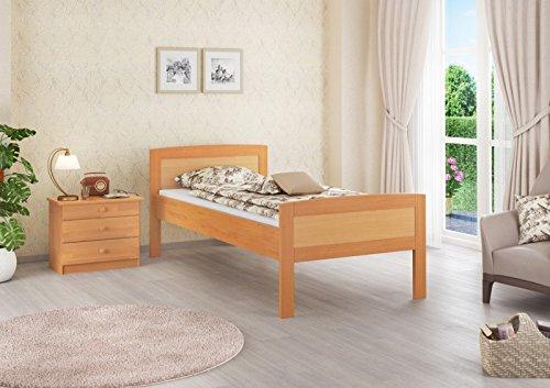 Erst-Holz® Einzelbett Seniorenbett 120×200 Massivholzbett Buche Natur Rollrost 60.72-12