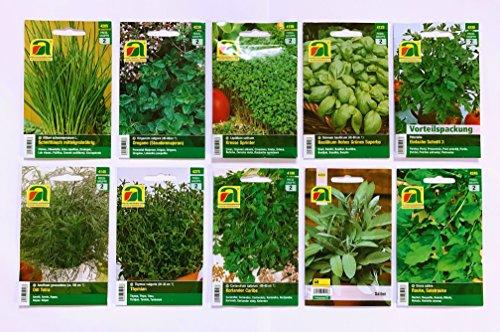 Premium Kräuter Saatgut Sortiment - 10 Sorten - über 60000 Kräutersamen - Vorteilspackung - inklusive praktischem Geschenk bzw Aufbewahrungskarton - Ziehen Sie sich einfach Ihre Kräuter zuhause selbst mit unserem ausgewähltem Qualitätssaatgut