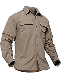 TACVASEN Quick Dry Men's UV Protection Convertible Sleeve Shirt