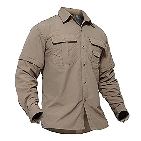 TACVASEN Mens Convertible Sleeve Shirts Lightweight Moisture-Wicking Quick Drying Breathable Hiking Camping Hunting Working Trekking Jackets Coat