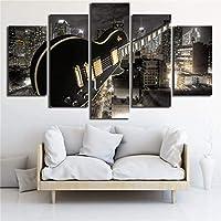 ZY Impresión En HD Decoración De La Sala Imágenes Impresas 5 Piezas Guitarra Y Edificios De La Ciudad Vista Nocturna Cartel Arte De La Pared Pinturas De Lienzo Modulares,A,30x40x2+30x60x2+30x80x1
