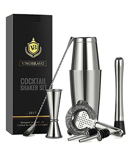 Premium Edelstahl Boston Cocktailshaker Set /Cocktailset/Martinishaker/Mixer in Silber von VinoBravo: 530 ml & 830 ml Cocktail shaker/Cocktailmixer, Hawthorne-Barsieb, Doppel-Jigger, 30 cm Rührlöffel, 18 cm Getränkestößel und Rezepte