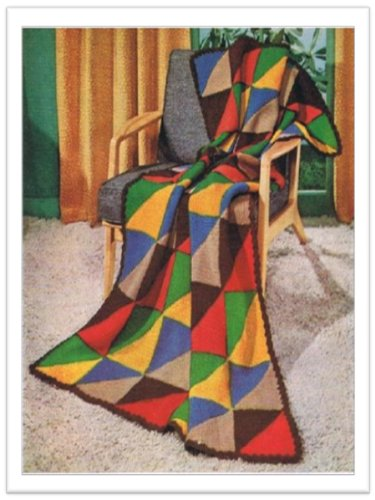 2593 Knitted Triangle Afghan Vintage Knitting Pattern Ebook