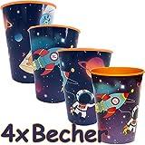 Neu: 4X Stabile Kunststoff-Becher * Weltraum & Astronaut * für Mottoparty und Kindergeburtstag | Space All Weltall Kinder Geburtstag Motto | Perfekt als Mitgebsel