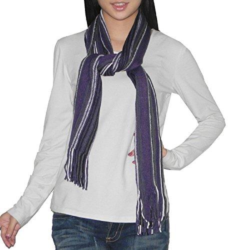 Femme Fringe (hommes / femmes Confortable et Super-Soft Thin Stripe Scarf hiver Knit Wrap / Avec Fringe - Violet & Noir)