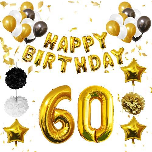 tion - 60. Geburtstag Luftballons - Happy Birthday Banner Helium Party Luftballons Zum Hochzeitstag Party Deko - Frauen Männer (60 jahre) Gold Weiße Schwarze Latex Foilen ()