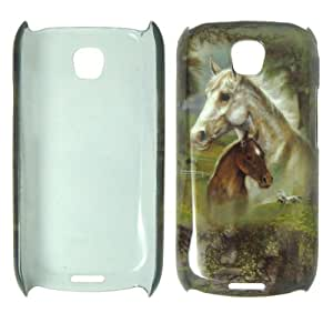 Samsung I5800 Galaxy 3 - Horses & Trees Colorful Painting Hard Case, Cover, Snap On, Faceplate + free Screen Protector
