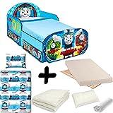 Bebegavroche Komplettpaket Bett Thomas und Seine Freunde Wagon mit Schubladen = Bett + Matratze & Bettwäsche + Bettdecke + Kissen