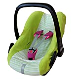 ByBoom - Universal Sommerbezug, Schonbezug aus Frottee mit Streifen für Babyschale, Autositz, z.B. Maxi Cosi Cabrio Fix, City, Pebble; Designed in Germany, MADE IN EU, Farbe:Limette/Streifen-Limette