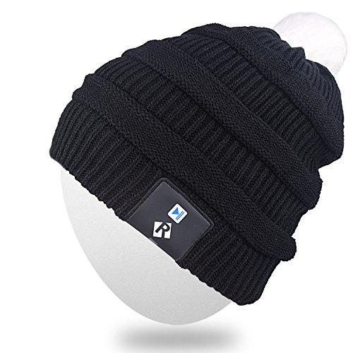 Mydeal Stilvolle LED-Birne Leuchten Mütze Hut Strickmütze Pom Pom Flash Lichter für Männer Frauen Indoor und Outdoor, Festival, Urlaub, Feiern, Partys, Bar, Schwarz