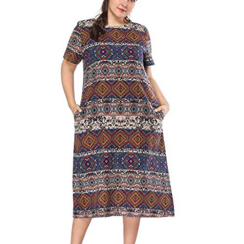 AIni Damen O-Ausschnitt Kurze Ärmel Wickelkleid mit trendigem Muster Print Stil Kleid Partykleid Abendkleider