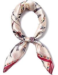 Felix   SiLK Mujer Niña 100% Seda de Mora Multicolor Bufanda Fulares Bufanda  de Cuello Bandana Bufanda Cuadrada Pañuelo para la… 9a628eb2130