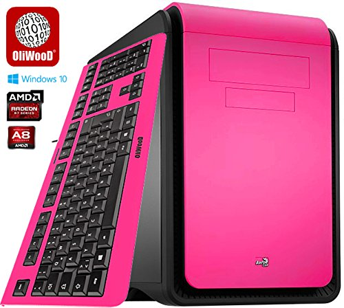Gaming G2 OliWooD Design PC inkl. bunter Design Tastatur (4x 3.1-3.8GHz, 8GB, 2008GB SSHD, AMD Radeon R7, DS Cube, USB 3.0, Windows 10 Pro) (Pink)