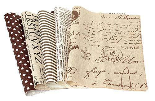 VBS Stoffpaket 5 Stück - Script-Nature - 20x29,5 cm Polyester Jute