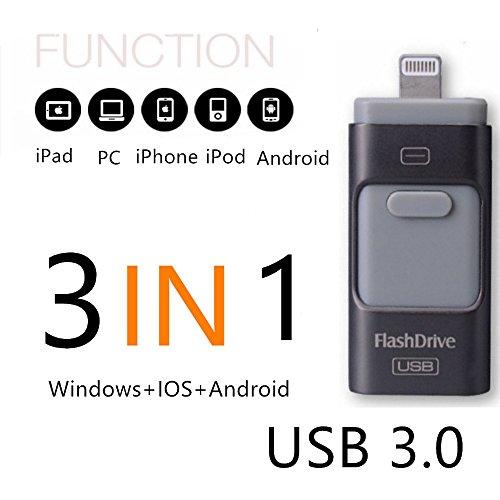 SETAYO 16GB 3 in 1 OTG Mobile USB3.0 Flash Drive mit Blitz Anschluss für iPhone iPad und Android Micro USB und PC & MAC (Digital-movie-speicherung)