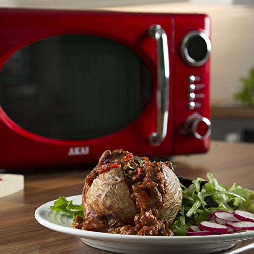 Akai A24009 Digital Microwave, 5 Power Levels, 700 W, Metallic Red