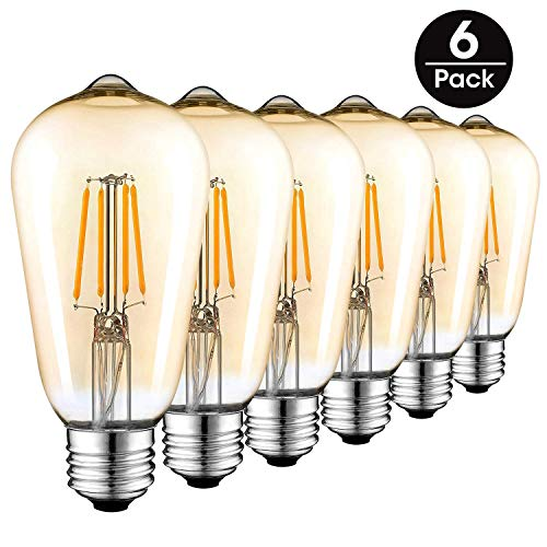3 Light Medium Base (LED Bulbs, Dimmable LED Filament Light Bulbs, 3W (30W Equivalent), Vintage Style ST64 Bulb, E27 Medium Base, Amber Glow, 2200K, 6 Pack)